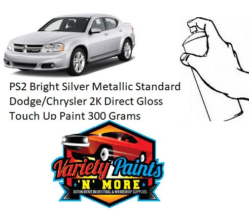 PS2 Bright Silver Metallic Standard Dodge/Chrysler 2K Direct Gloss Touch Up Paint 300 Grams