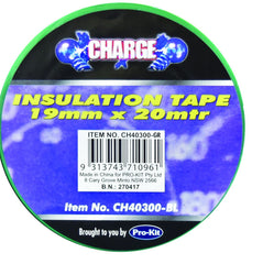 Charge Insulation Tape Roll GREEN Prokit  19mm x 20 Metres