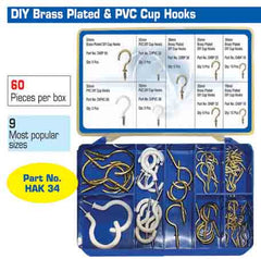 Torres Assorted DIY Brass Plated /PVC Cup Hooks 60 Pieces