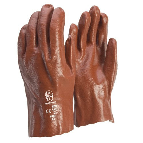 Frontier Glove PVC - Red 27cm. Single dip. Large