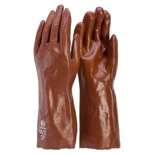 Frontier Glove PVC - Red 35cm. Single dip. Large