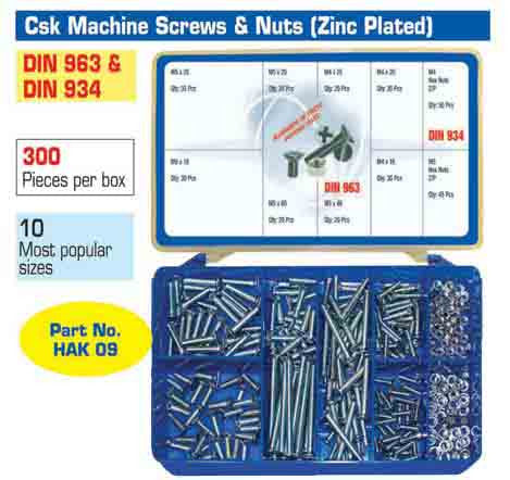 Torres Countersunk Machine Screws & Nuts 300 Pieces