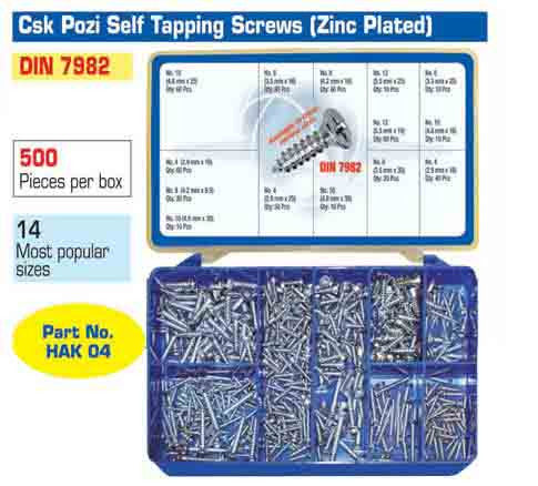 Torres Countersunk Pozi Self Tapping Screws 500 Pieces