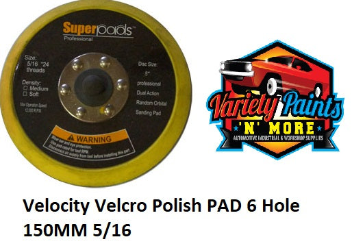Velocity Velcro Back Up Pad 150mm 5/16 THREAD 6 Hole