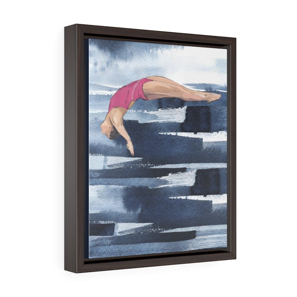 Dive Girl no. 1 - Vertical Framed Premium Gallery Wrap Canvas