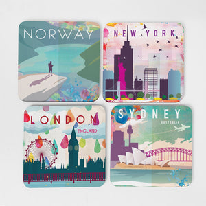 Watercolour Single Hardboard Coaster