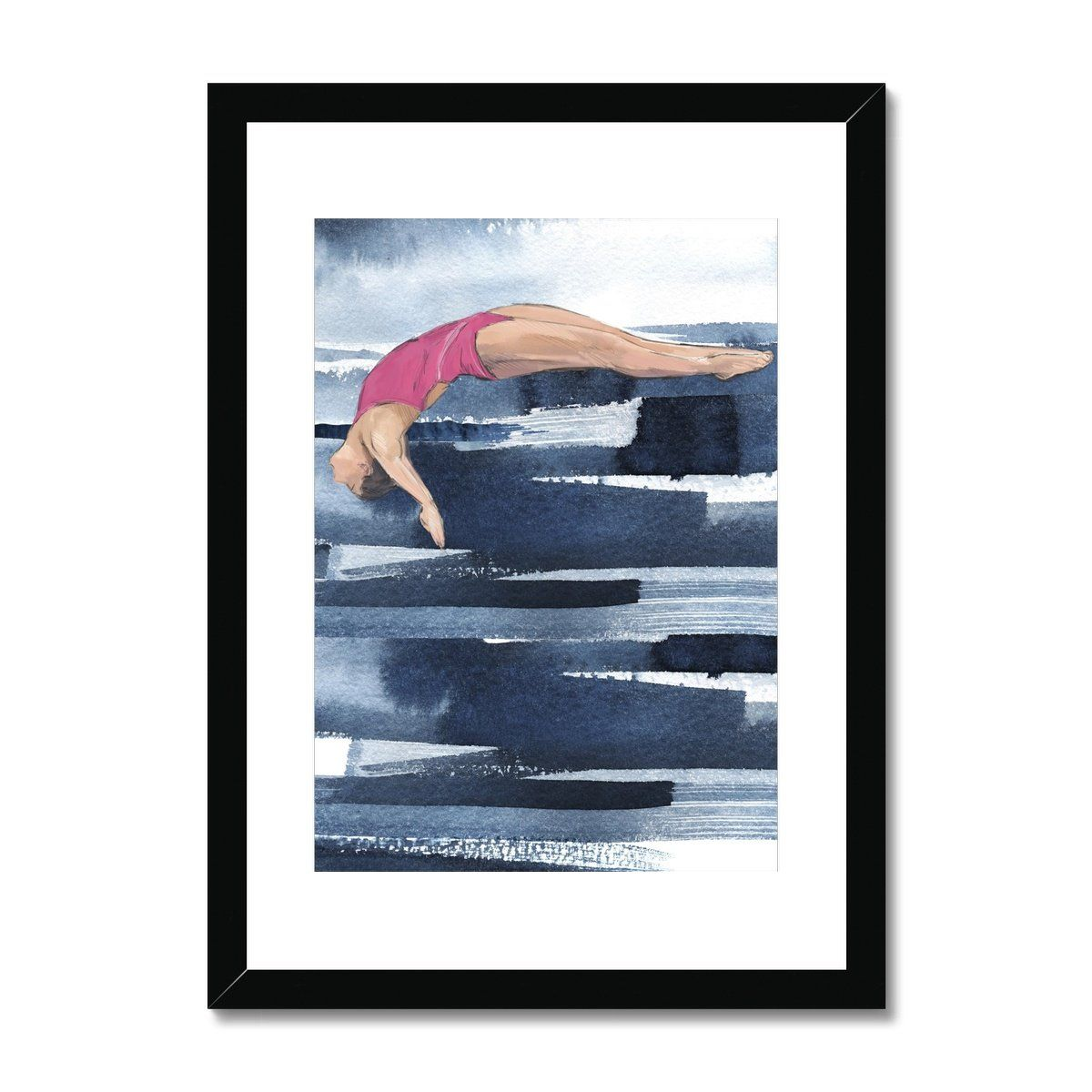 Dive Girl GLIDE Framed & Mounted Print