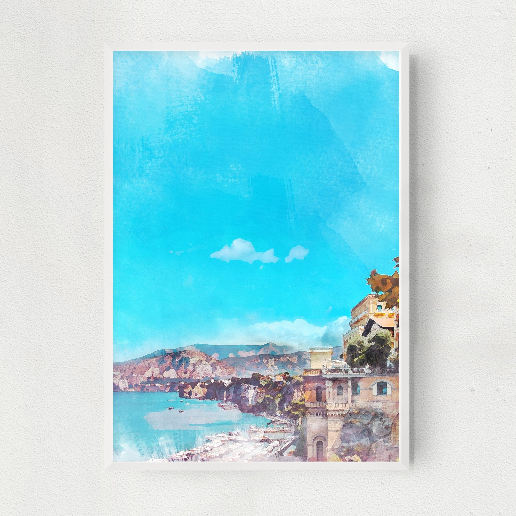 Blue Capri illustrated art print
