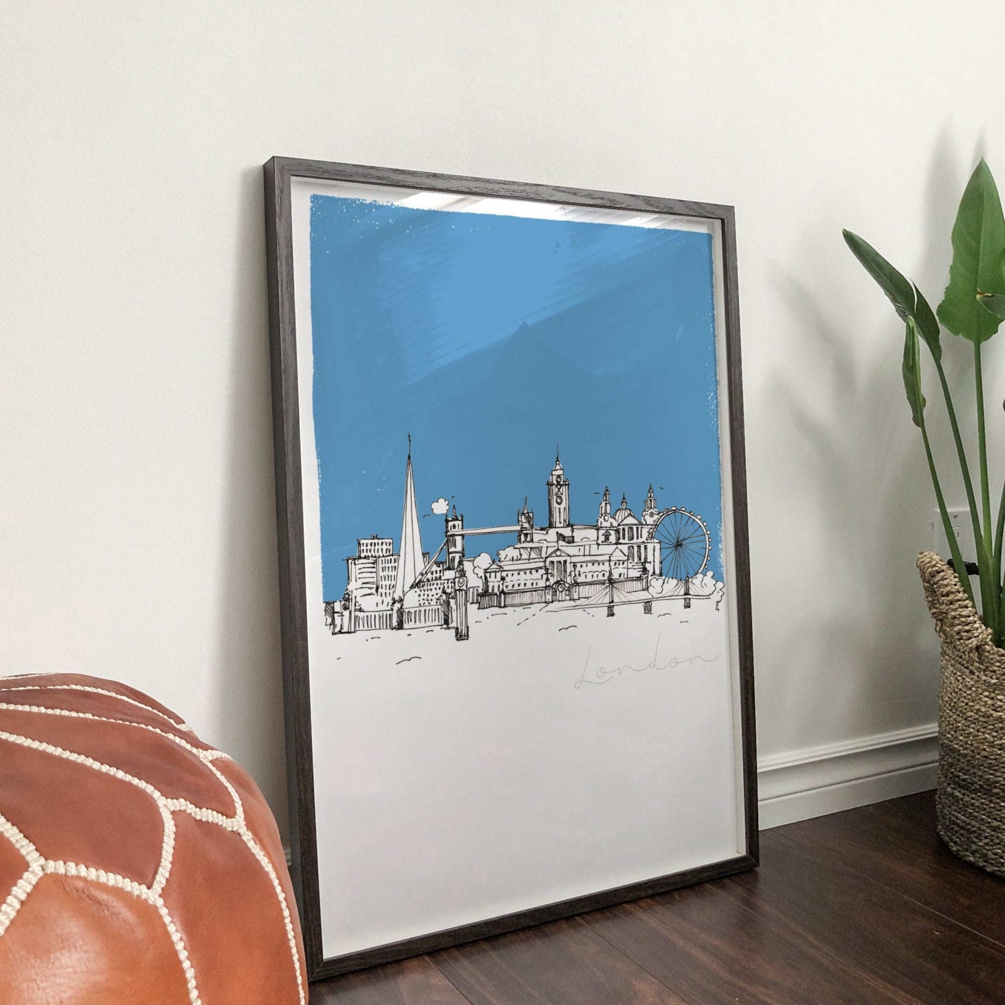 London landmarks unframed art print, blue