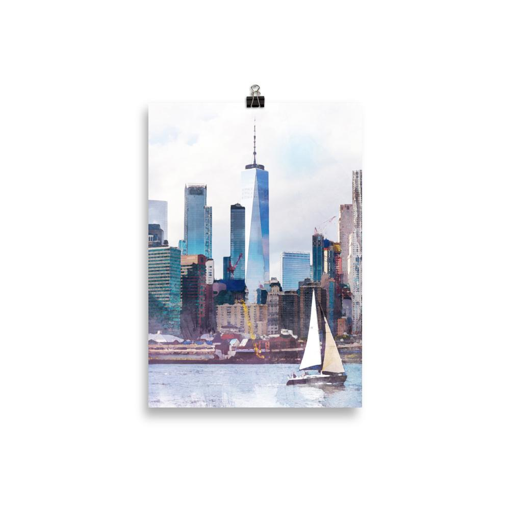 New York City, with a sailboat, art print