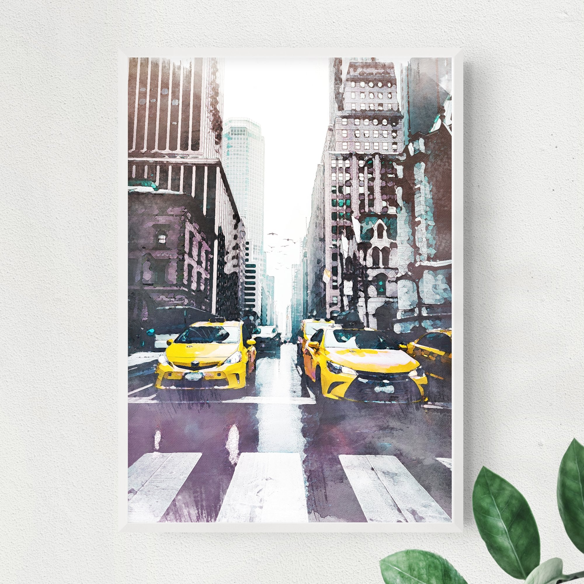New York City yellow taxis print