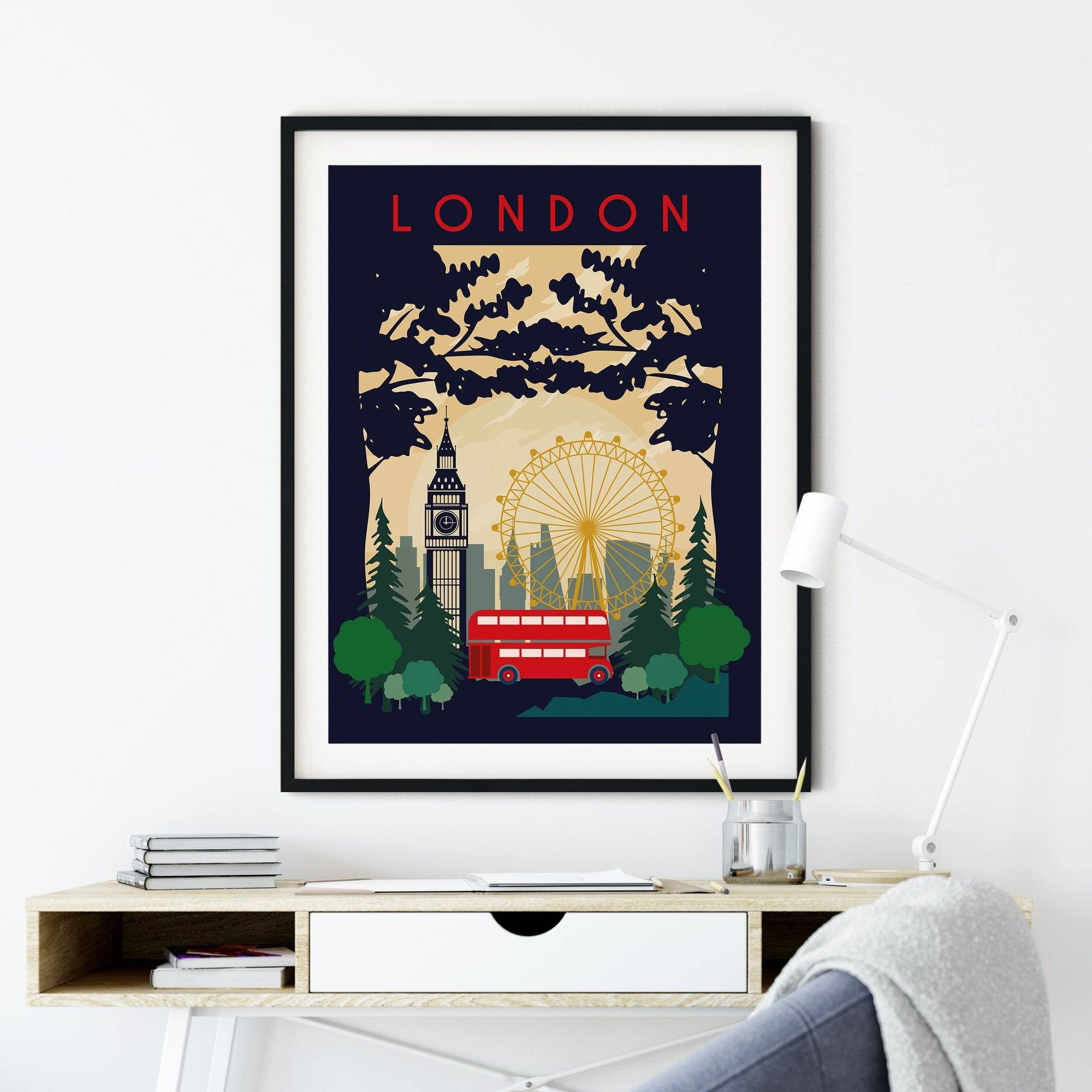 London Red Bus City fine art travel poster