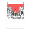 New York, Times Square, unframed art print, red