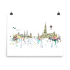 Strasbourg Map Skyline - Art Print, Unframed