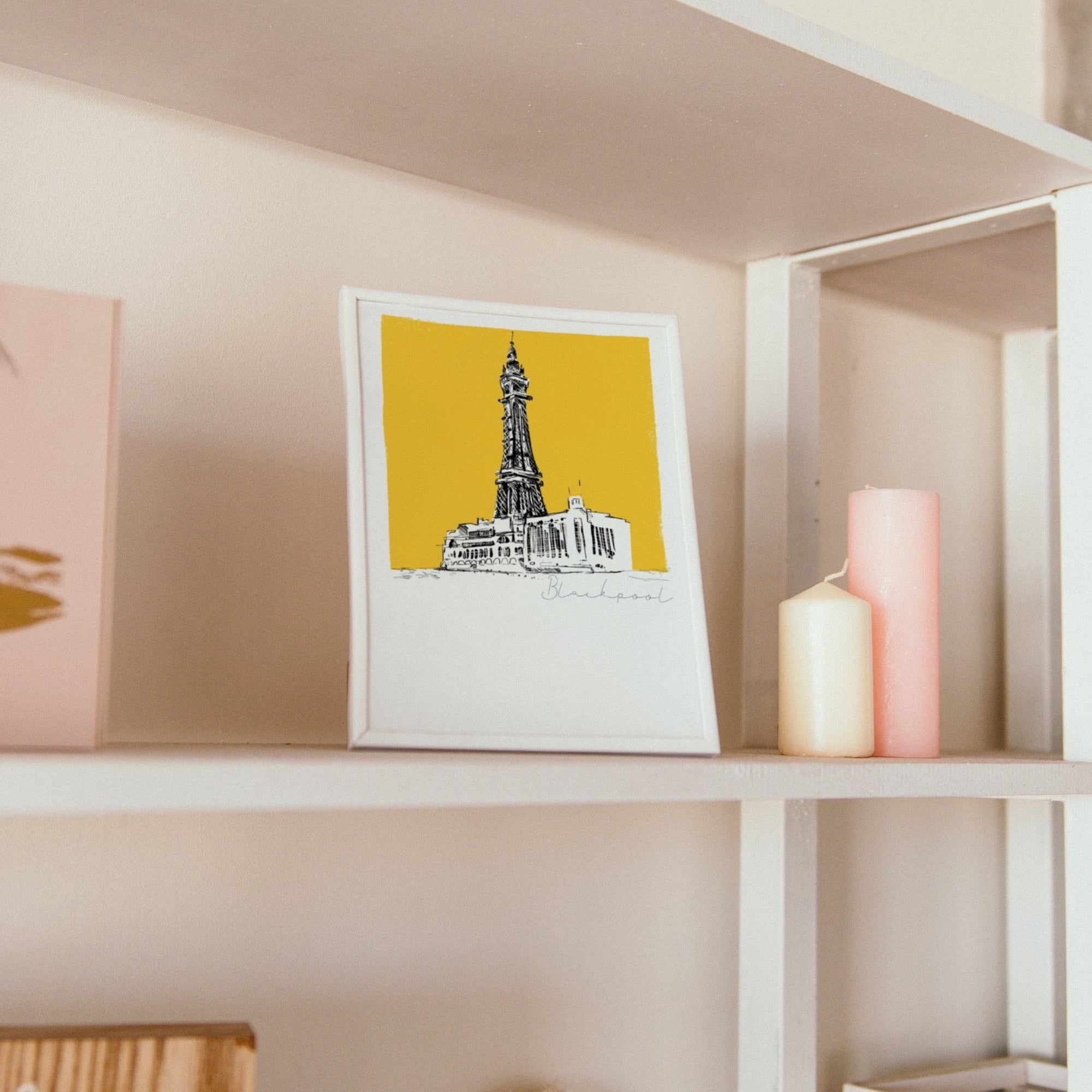 Blackpool tower unframed art print, yellow