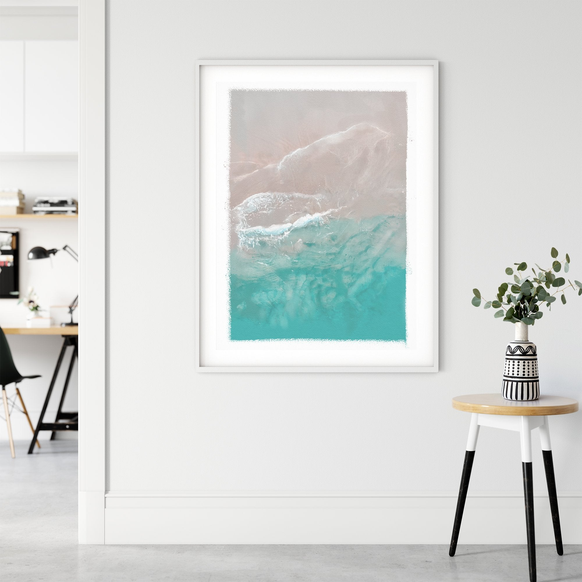 Ocean gentle wave over sand unframed art print