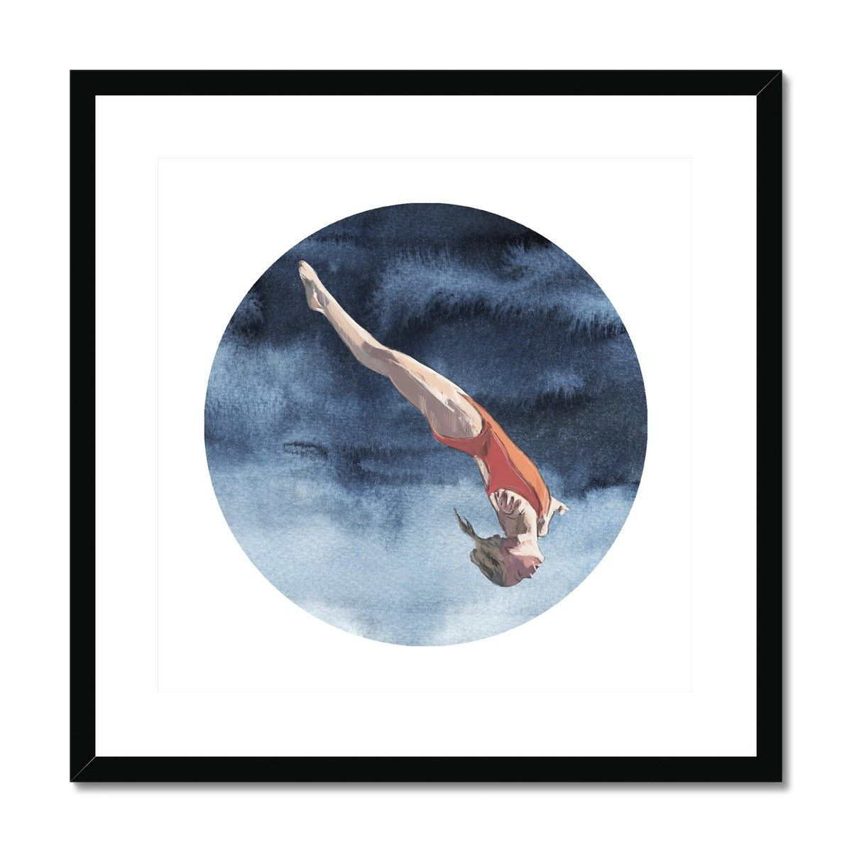 DIVE GIRL 'SOAR', CIRCLE ON SQUARE, Framed & Mounted Print