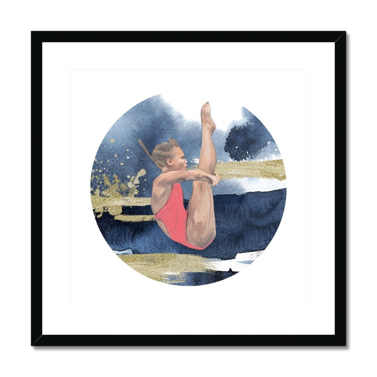 DIVE GIRL 'UP', CIRCLE ON SQUARE Framed & Mounted Print