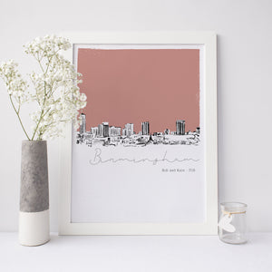 Birmingham Skyline Illustrated Art Print