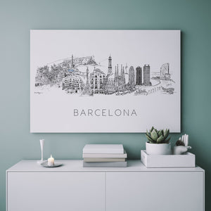 Barcelona, Spain Skyline Art Print