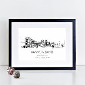 New York Brooklyn Bridge Illustrated Art Print
