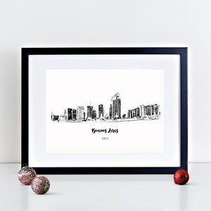 Buenos Aires Skyline Illustrated Art Print