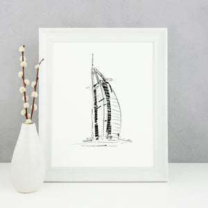 Burj Al Arab Monochrome Sketch