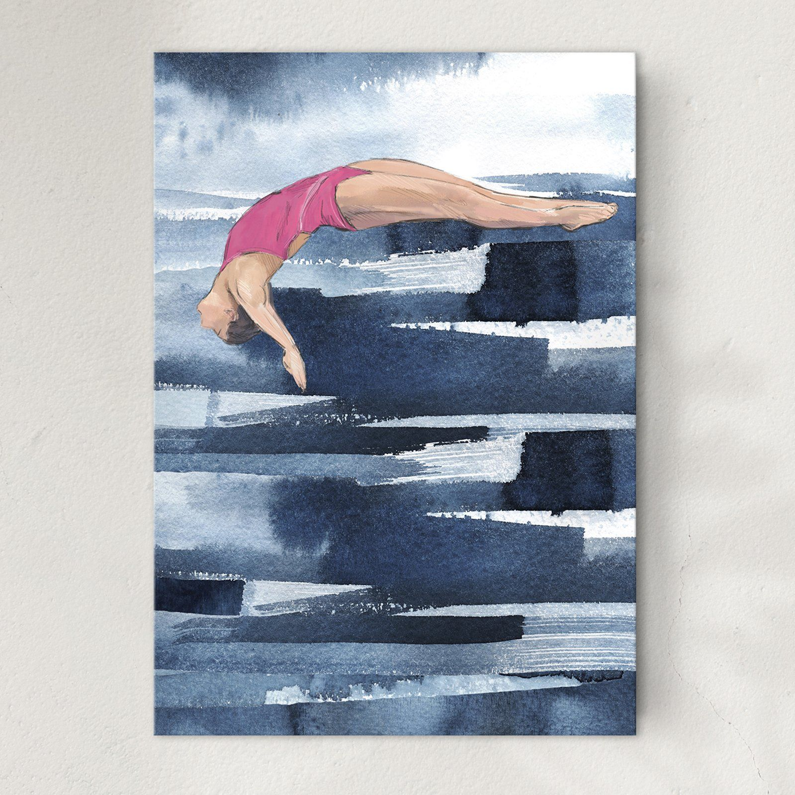 Diving girl - Glide, art print. Unframed.