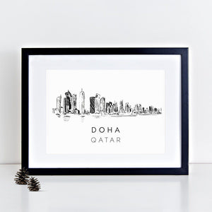Doha Illustrated Skyline Print