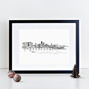 Durban Illustrated Skyline Print
