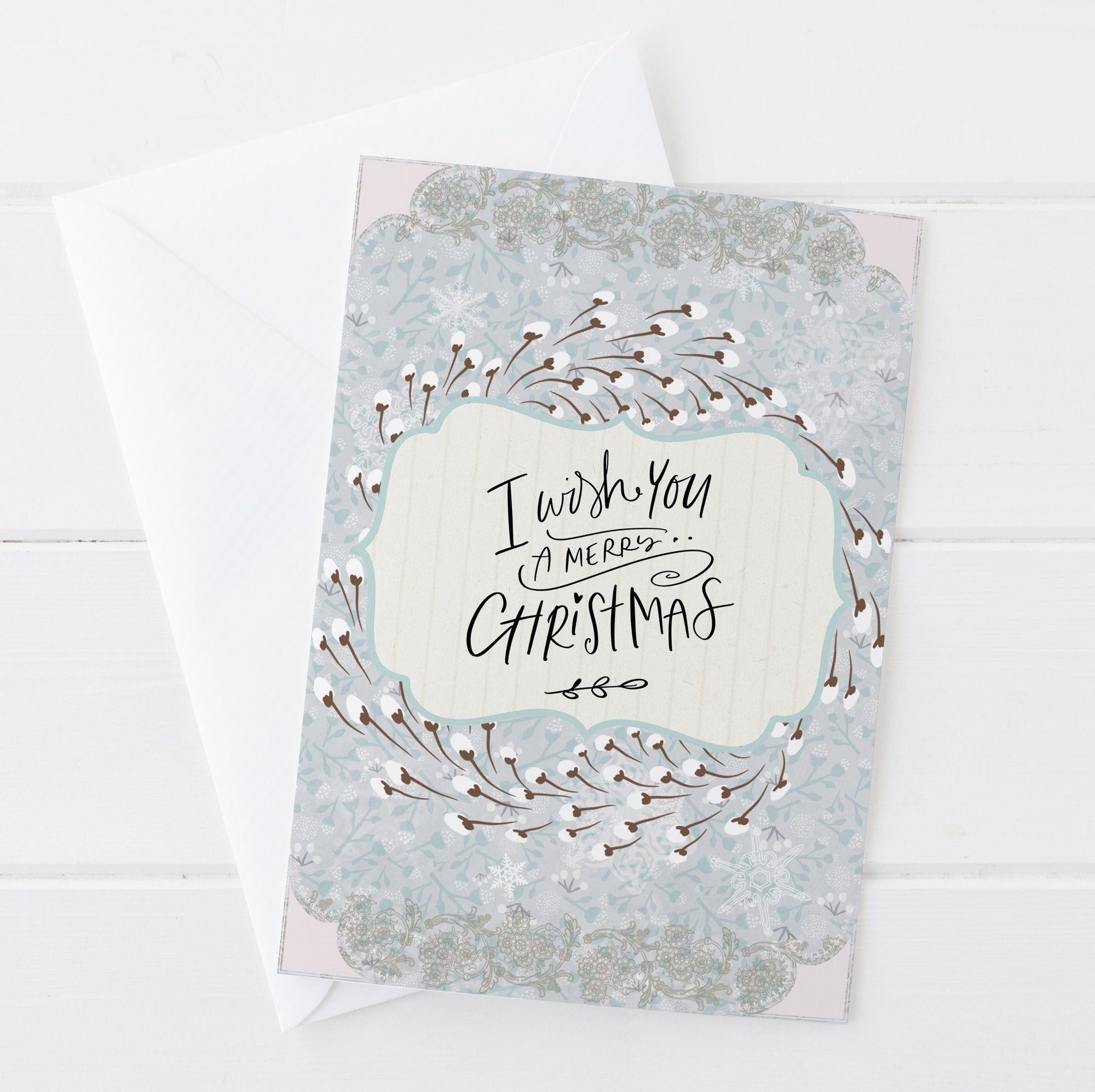 Merry Christmas wreath and Lace Christmas Card