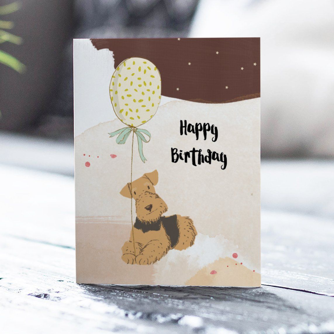 Happy Birthday Dog With Balloon Greetings Card