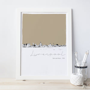 Liverpool Skyline Illustrated Art Print