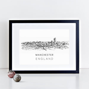 Manchester Illustrated Skyline Print