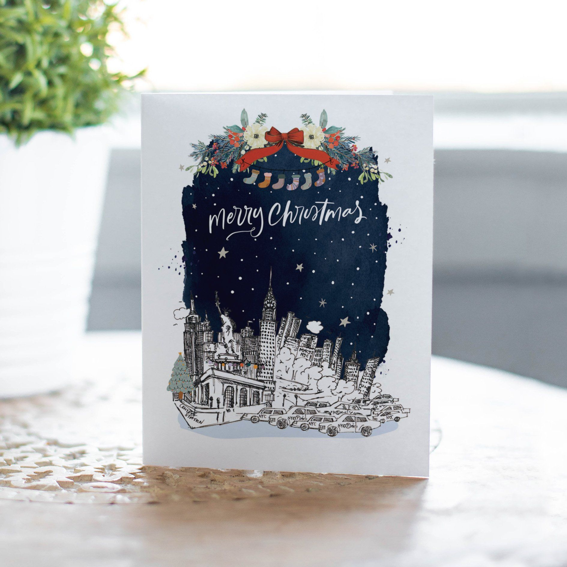 New York Skyline Christmas Card