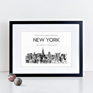 New York City Skyline Illustrated Art Print