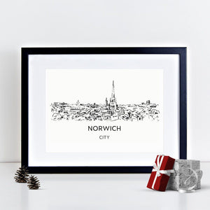 Norwich City Skyline Illustrated Art Print