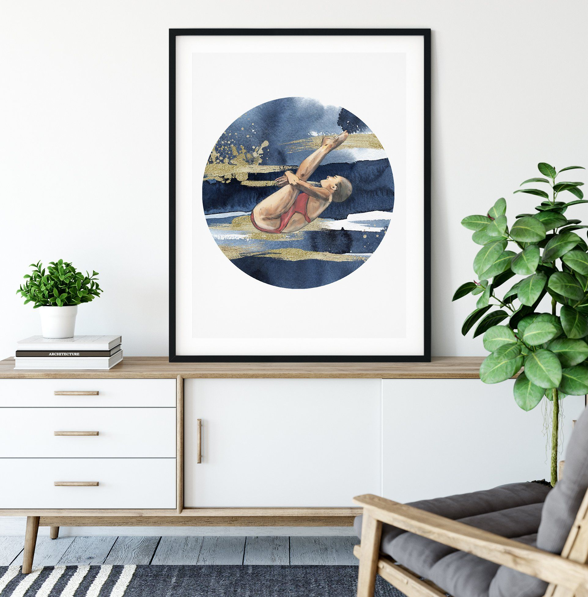 DIVE GIRL 'RISE', CIRCLE ON SQUARE Framed & Mounted Print