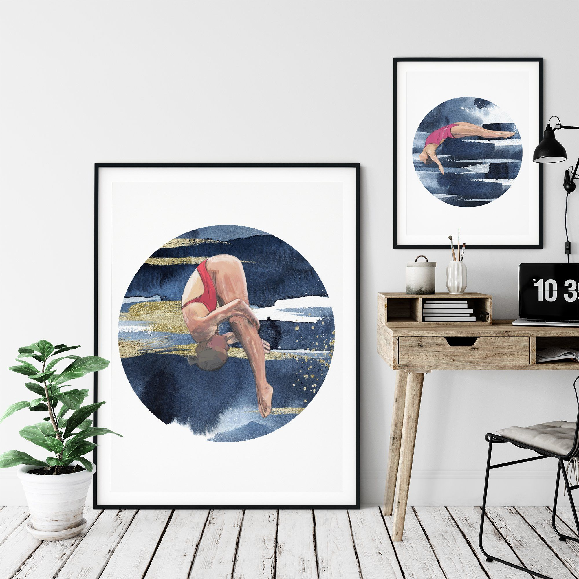 DIVE GIRL 'GLIDE', CIRCLE ON SQUARE Framed & Mounted Print