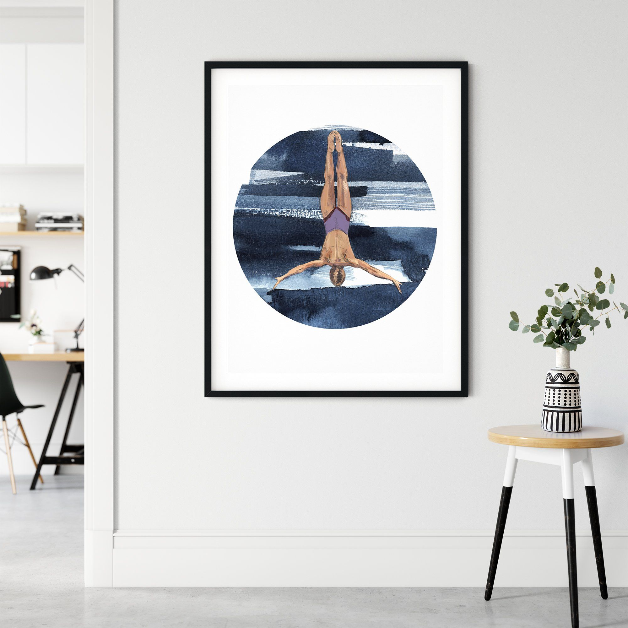 DIVE GIRL 'GRACE', CIRCLE ON SQUARE, Framed & Mounted Print