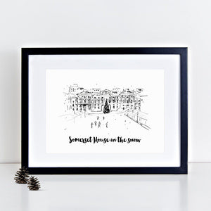 Skating At Somerset House Illustrated Art Print