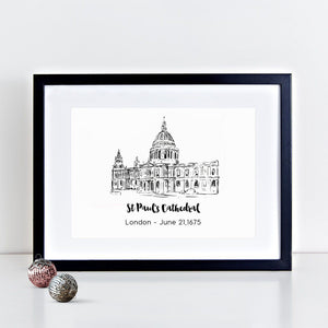 St Paul's Cathedral Illustrated Art Print