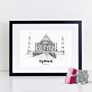 The Taj Mahal Illustrated Art Print