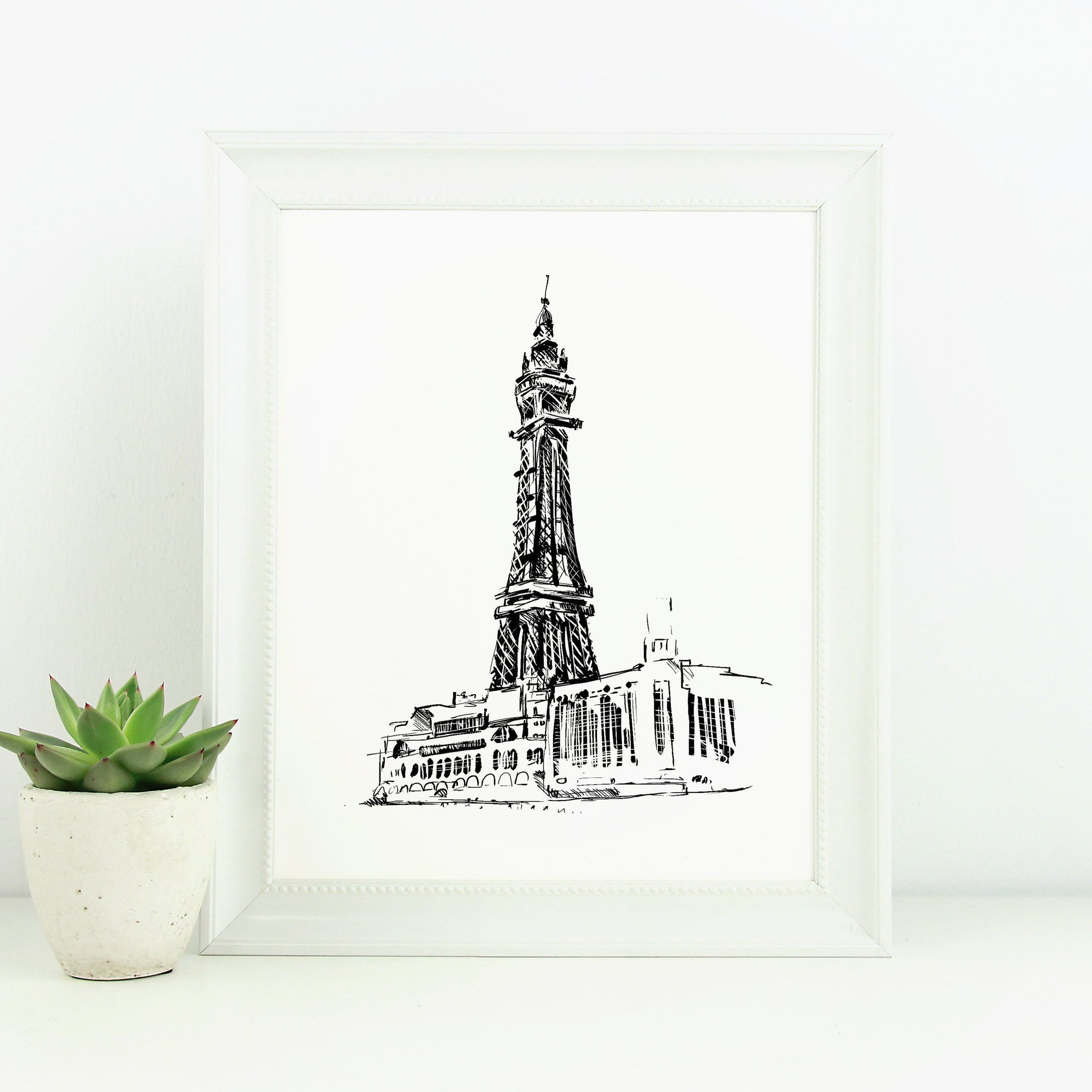 Blackpool Tower Monochrome Sketch