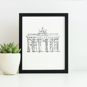 Brandenburg Gate Monochrome Sketch