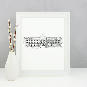 Buckingham Palace Monochrome Sketch