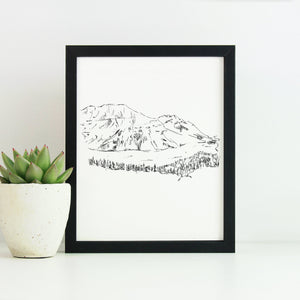 Canadian Rockies Monochrome Sketch