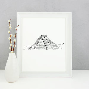 Chichen Itza Monochrome Sketch