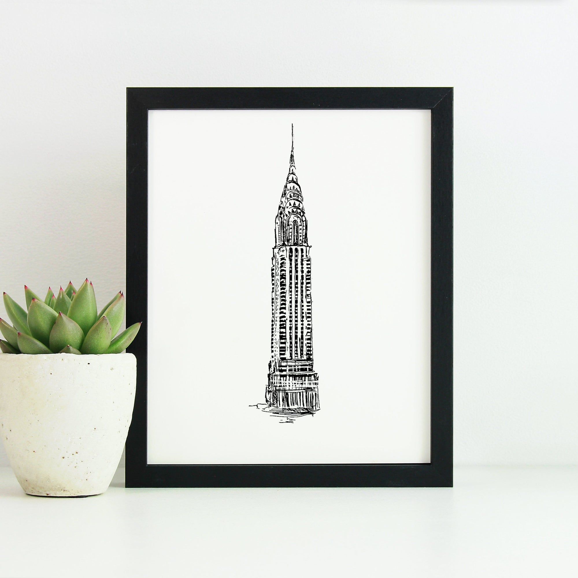 Chrysler Building Monochrome Sketch