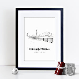Dusseldorf Illustrated Skyline Print